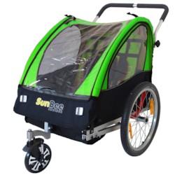 Cykelvagn SunBee Cruiser m. barnvagnskit - Grön/Svart