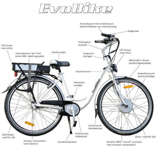 Elcykel EvoBike ECO-3 500W 2014-2016 - SVART, dam