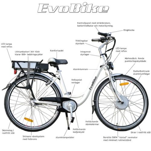 Elcykel EvoBike ECO-7 500W 2014-2016 - VIT, dam