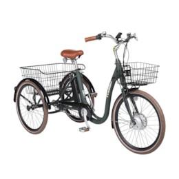 FYNDEX  -  Elcykel Trehjulig Elcykel Evobike Elegant 24 tum 250W 2021 - Olivgrön