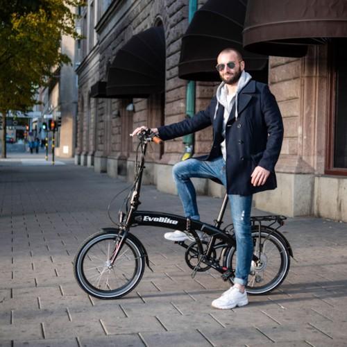 Elcykel EvoBike Travel 2021, Hopfällbar - Svart