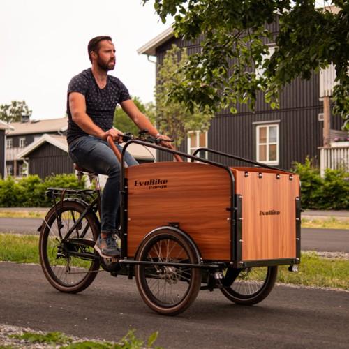 Elcykel Lådcykel Evobike Cargo PRO - Natural wood
