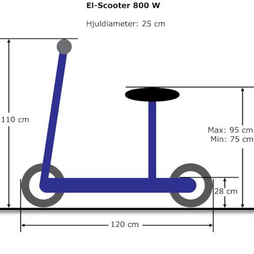 Elscooter 800 W EcoDrive Blå m. LYSEN