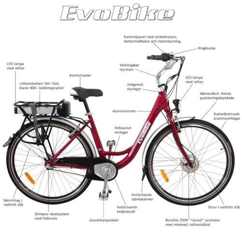 Elcykel EvoBike ECO-3 250W 2014-2016 - VIT, dam