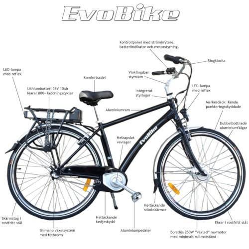 Elcykel EvoBike ECO-7 250W 2012-2016 - SVART, herr