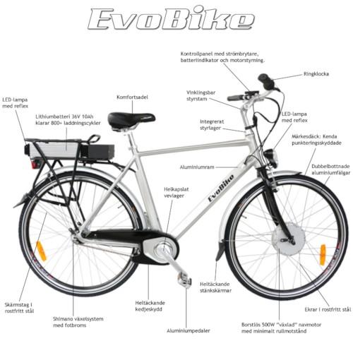 Elcykel EvoBike ECO-3 500W 2014-2016 - SVART, herr