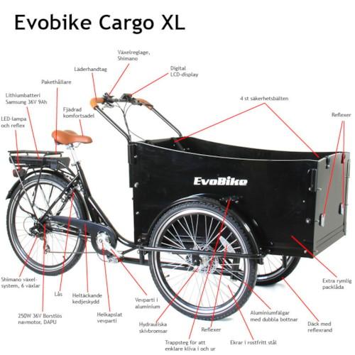 Elcykel Lådcykel EvoBike Cargo XL 250W - Svart