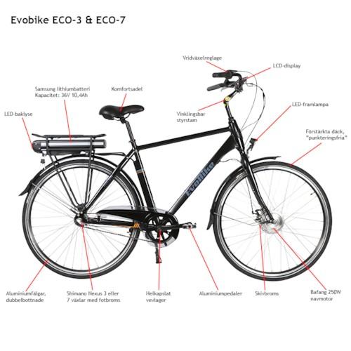 Elcykel EvoBike ECO-7 250W 2018 - Olivgrön, herr