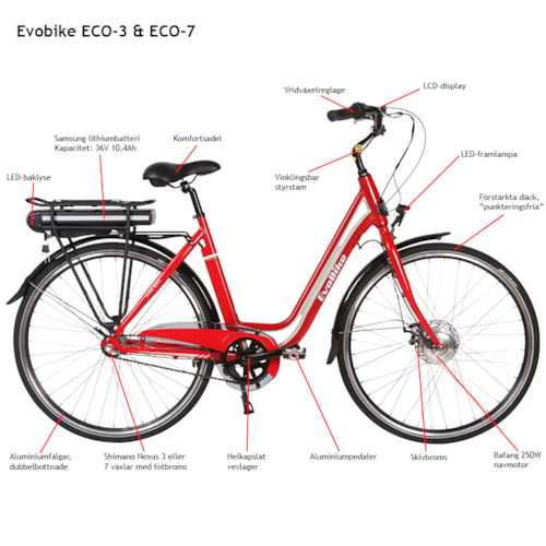 Elcykel EvoBike ECO-7 250W 2017-2018 - RÖD/LJUSGRÅ, dam