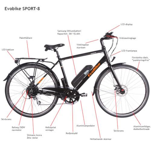 Elcykel EvoBike SPORT-8 250W 2018 - Olivgrön, herr