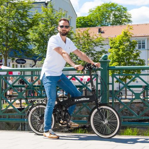 Elcykel EvoBike Travel 2018, Hopfällbar - Svart