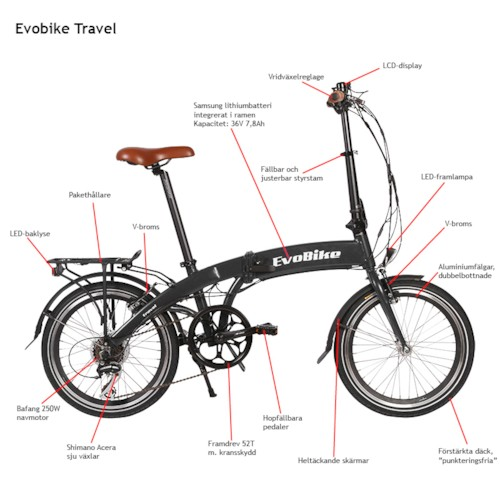 Elcykel EvoBike Travel, Hopfällbar 2018 - Mattröd