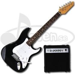 El-Gitarr, ST - Komplett set - Svart/vit