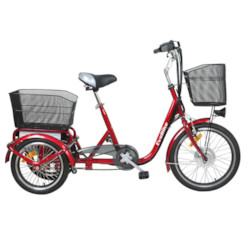 Trehjulig Elcykel Evobike Flex 20-16 tum VINRÖD - 250W
