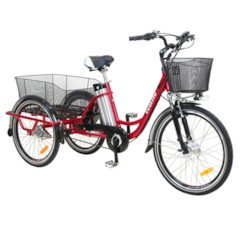 Trehjulig Elcykel EvoBike Grande 26/24 tum - Röd