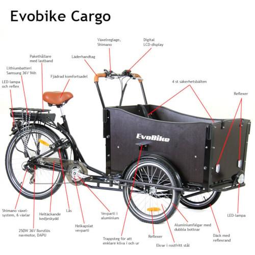 Elcykel Lådcykel EvoBike Cargo, 250W - Omonterad