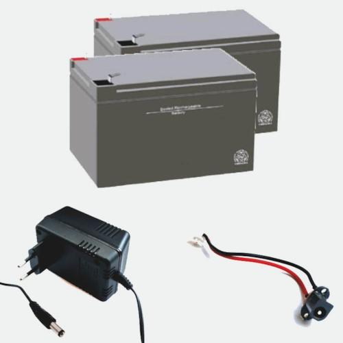 Paketpris - 2 st 12V12Ah batterier, laddare och laddningsingång