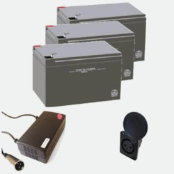Paketpris - 3 st 12V12Ah batterier, laddare och laddningsingång