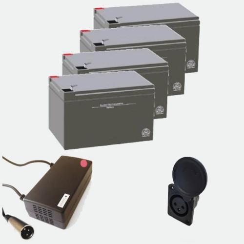 Paketpris - 4 st 12V12Ah batterier, laddare och laddningsingång